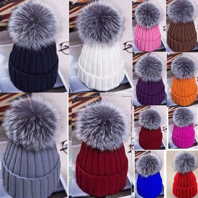 Invierno cálido mujer de piel Pom sombrero para mujer sombrero de punto  gorros sombrero grueso de 831d30ebf84