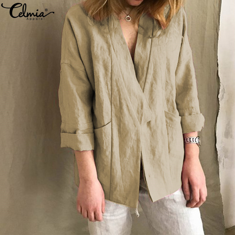 Celmia Kimono Cardigan Women Vintage Linen Tops 2019 Autumn Long Batwing Sleeve   Blouse     Shirts   Plus Size Casual Loose Thin Coats