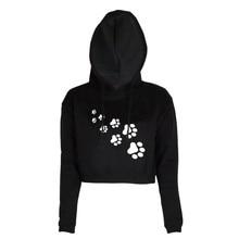 2019 new spring fashion Hoodies Women Fashion Printed Funny footprint Long Sleeve Cotton Casual Sweatshirts Crop Top