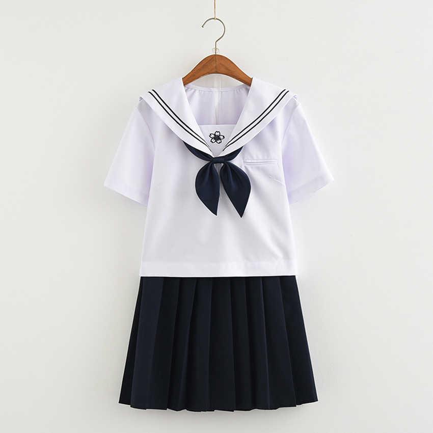 Корейский Японский Harajuku Стиль последней моде женщина школьная форма для девочек в морском стиле Костюмы для косплея костюм студентки комплект с бантом
