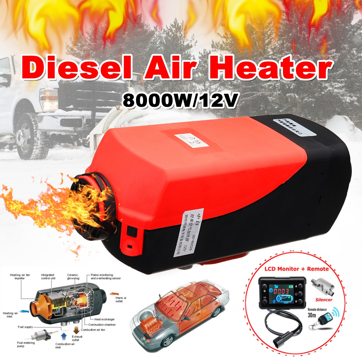 US $166 84 35% OFF|12V 8000W LCD Monitor Air diesels Fuel Heater Single  Hole 8KW For Boat Bus Car Heater With Remote Control and Silencer-in  Heating &