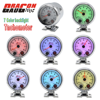 Dragon gauge 3.75 High speed stepper motor Auto Tachometer Gauge Meter 0 8000 RPM Racing modification with 7 Colors Backlight