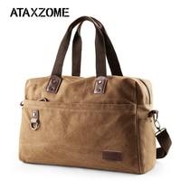 ATAXZOME Men's travel bag with laptop pocket quality waterproof canvas shoulder strap bag large capacity travel business bag