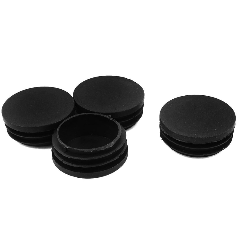 4 Pcs Plastic 45mm Dia Round Tubing Tube Inserts Bungs Covers Black