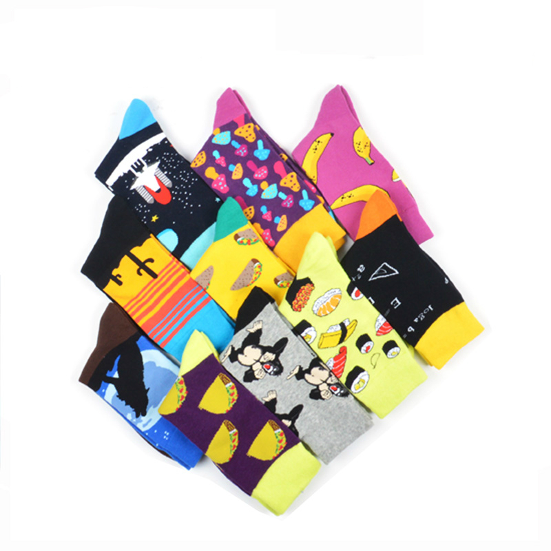 Men Socks Funny Cartoon Flamingo Dog Guitar Hamburger Leopard Print Stripe Happy Skate Harajuku Street Style Hip Hop Cotton Sock