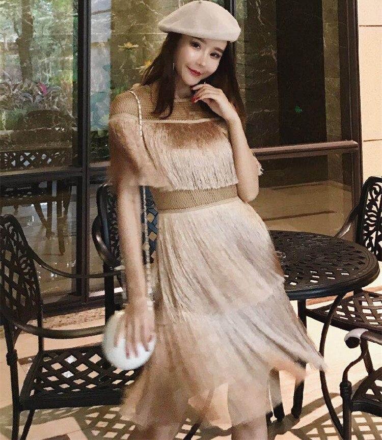 2019 Vintage robe gland élégant fête tenue de club robe de plage maille serré Streetwear robe d'été femmes Sexy robe