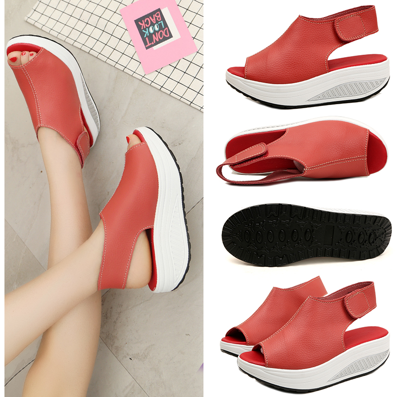 2017 Pure Color Summer Sandals 2017 Outdoor Platform Shoes For Women 35-43 Plus Size Fish Head Shoes Leather Footwear TR911793 big toe sandal