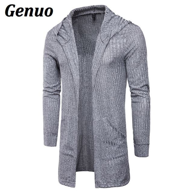 Genuo Mens Sweater Long Sleeve Cardigans Male Casual Solid Hooded Long Coat Clothings Fashion Autumn Shirt Men Streetwear