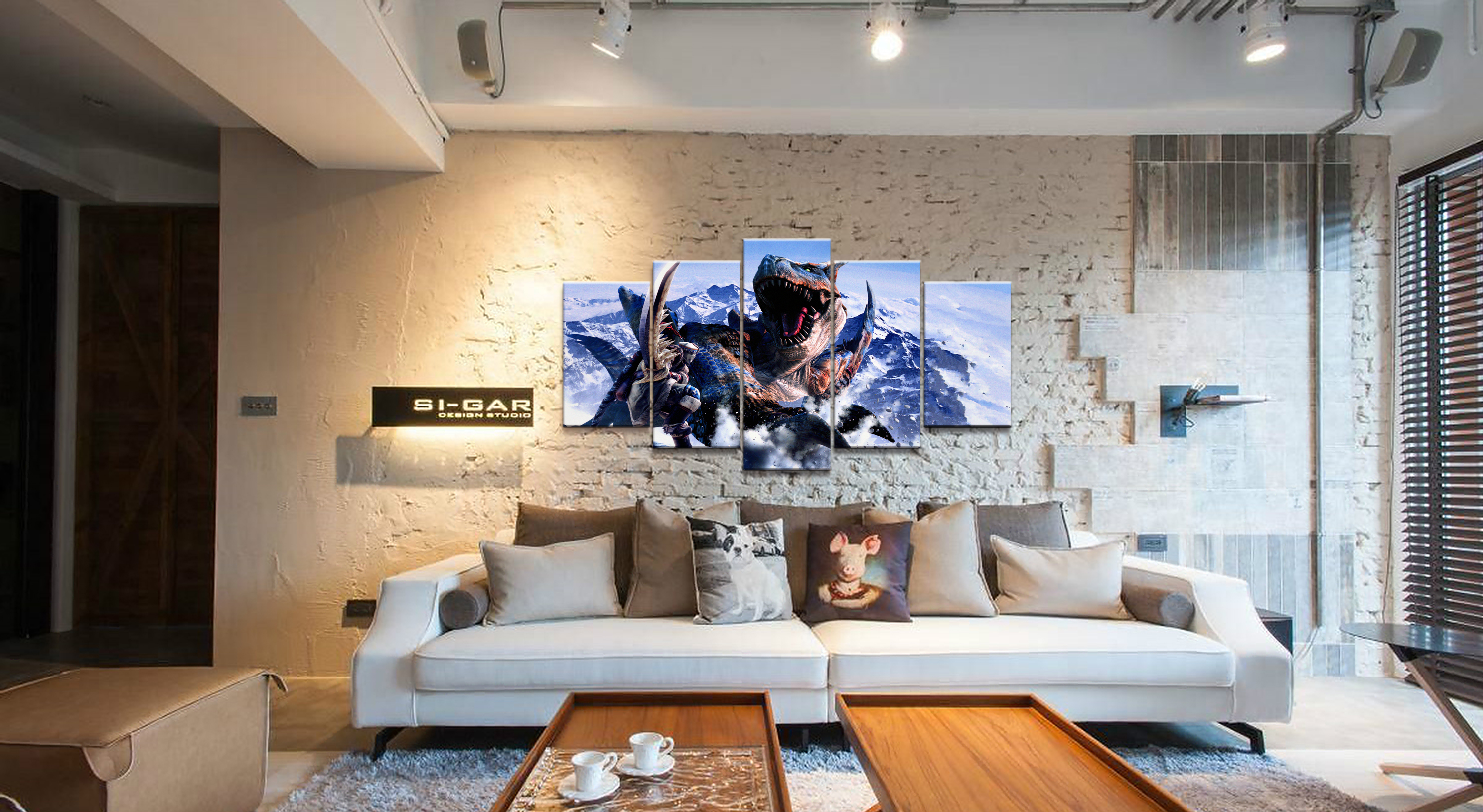 Home Decor Modular Canvas Picture 5 Piece Tigrex Monster Hunter Game Painting Poster Wall For Home Canvas Painting Wholesale in Painting Calligraphy from Home Garden