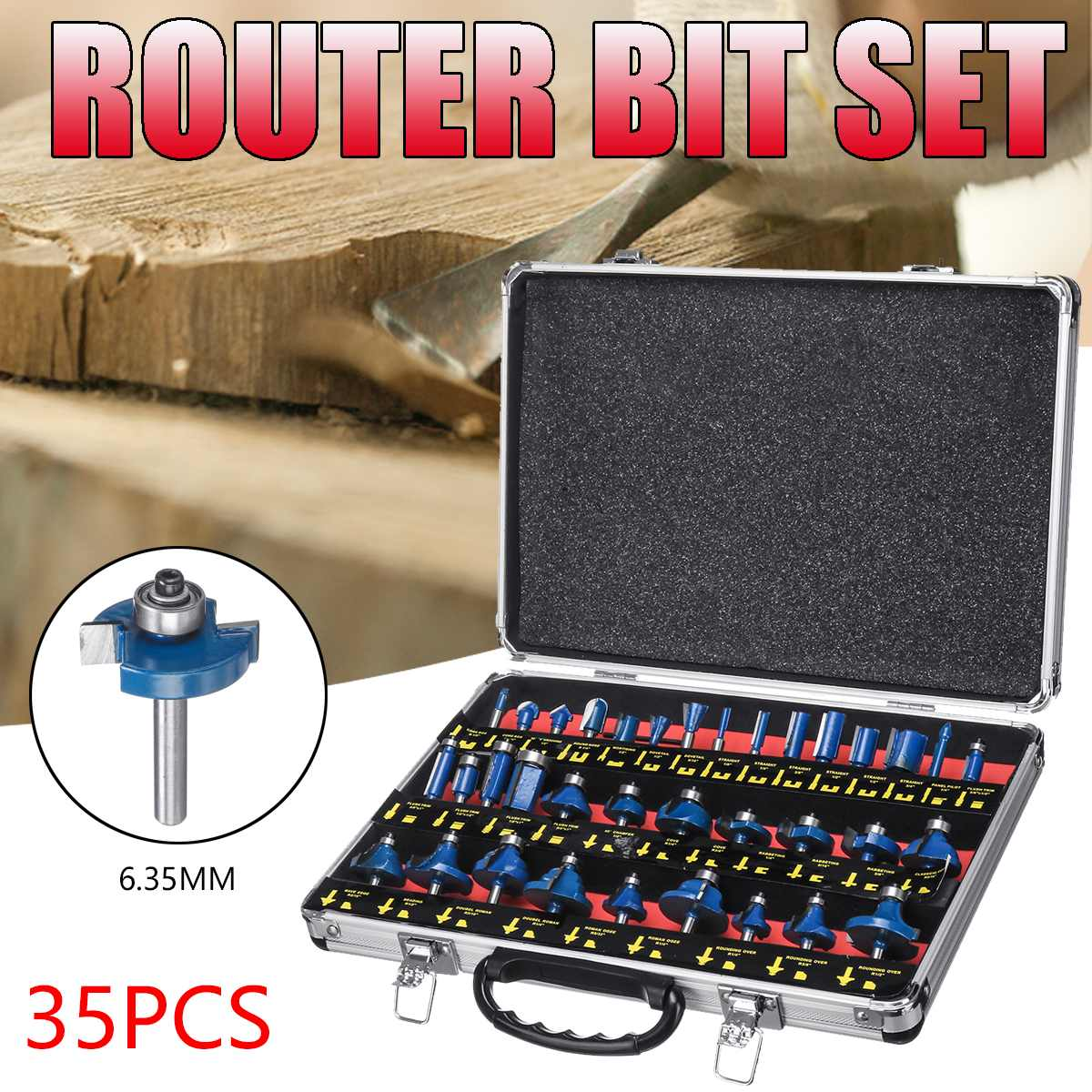 35PCS 1/4 Inch 6.35mm Wood Milling Cutter Shank Router Bit Set Trimming Machine Tool For Electric Trimmer Wood Work Cutting Kit