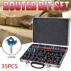 35PCS 1/4 Inch 6.35mm Hout Frees Schacht Router Bit Set Trimmen Machine Tool voor Elektrische Trimmer Hout werk Snijden Kit
