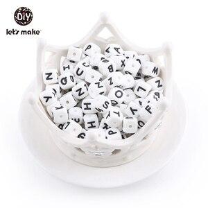 Image 5 - Lassen sie Machen Silikon Alphabet Brief Perlen 10mm 50pc BPA Fress Silikon Beißring DIY Zahnen Halskette Perlen Pflege anhänger