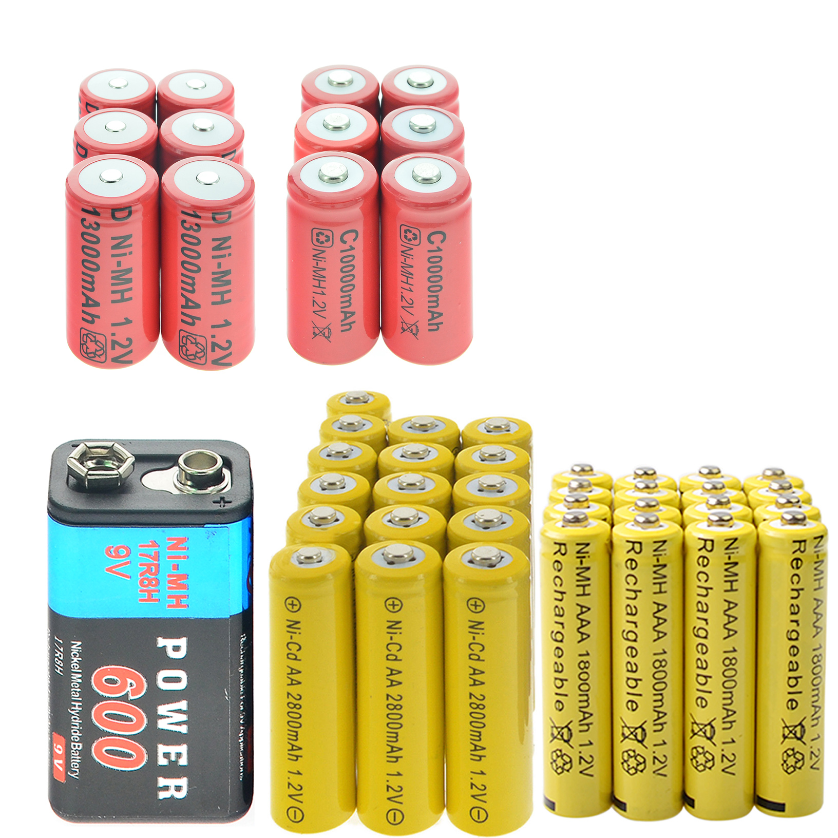 16x AA 2800 mAh + 16x AAA 1800 mAh + 1x9 V 600 mAh batterie + 6x D taille + 6x C taille batterie rechargeable jaune rouge