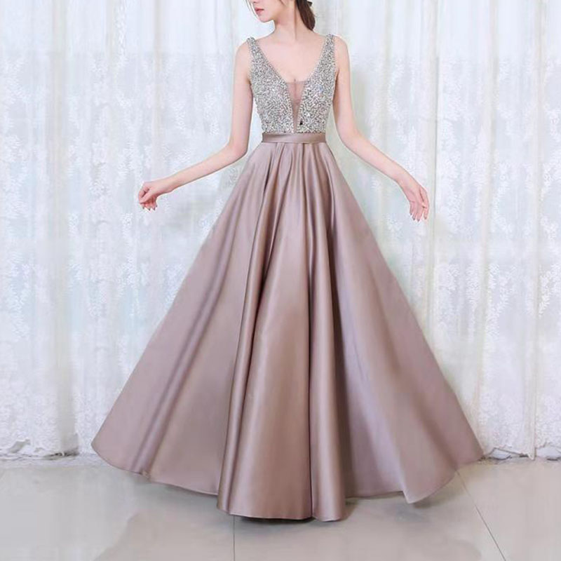 <font><b>women</b></font> <font><b>dress</b></font> <font><b>Sexy</b></font> V-neck Elegant 2019 Natural Sequins Shiny Wedding Bridal Evening gown <font><b>Party</b></font> Long birthday <font><b>dress</b></font> for <font><b>women</b></font> image