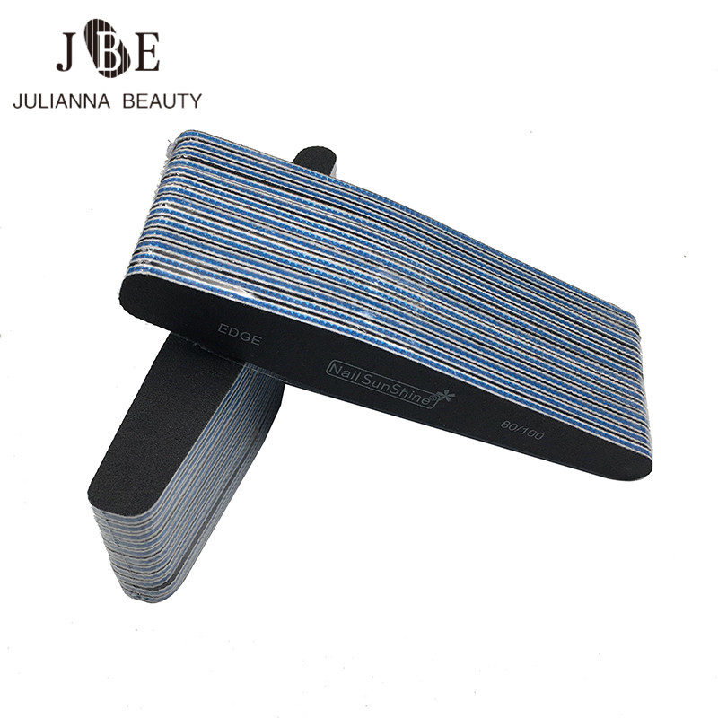 10Pcs/Lot Sanding Nail File 80/100 Washable Nail Buffer Block Pedicure Manicure Tips UV Gel Polish Curve Nail Care Tools Black