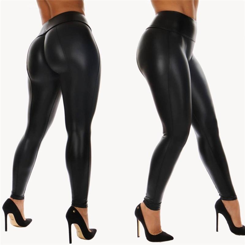 New Sexy Women Bandage PU Leggings Stretch Leggings Wet Look Pants Trousers Hot Selling Female Club Wear