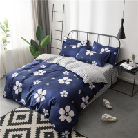 White Cherry Blossom Flowers Bedding Sets Girls Kids Teens Navy Blue Duvet Covers Pillowcases Stripe Bed Sheets Floral Bed Linen