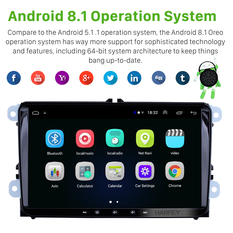 Image 2 - Harfey Android 8.1 2Din For VW/Volkswagen/Golf/Polo/Tiguan/Passat/b7/b6/leon/Skoda/Octavia car Radio GPS Car Multimedia player-in Car Multimedia Player from Automobiles & Motorcycles