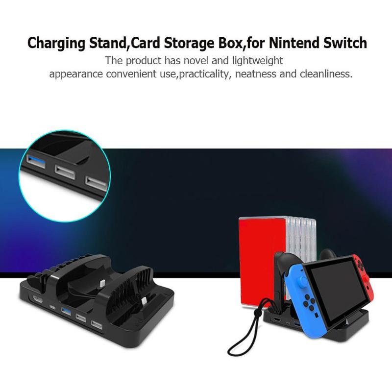 Charging Stand Dock with 6 Card Storage Box for Nintend Switch Game ConsoleCharging Stand Dock with 6 Card Storage Box for Nintend Switch Game Console