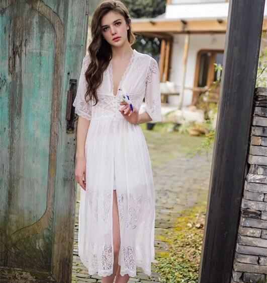 Image 4 - Lisacmvpnel Long Style Lace Sexy Women Nightdress Deep V Outwear Sleepwear-in Nightgowns & Sleepshirts from Underwear & Sleepwears