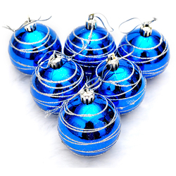 6pcs Christmas Tree Balls Blue Diameter 6cm Striped Color Drawing Decorations Ball Xmas Party Wedding Ornament 1