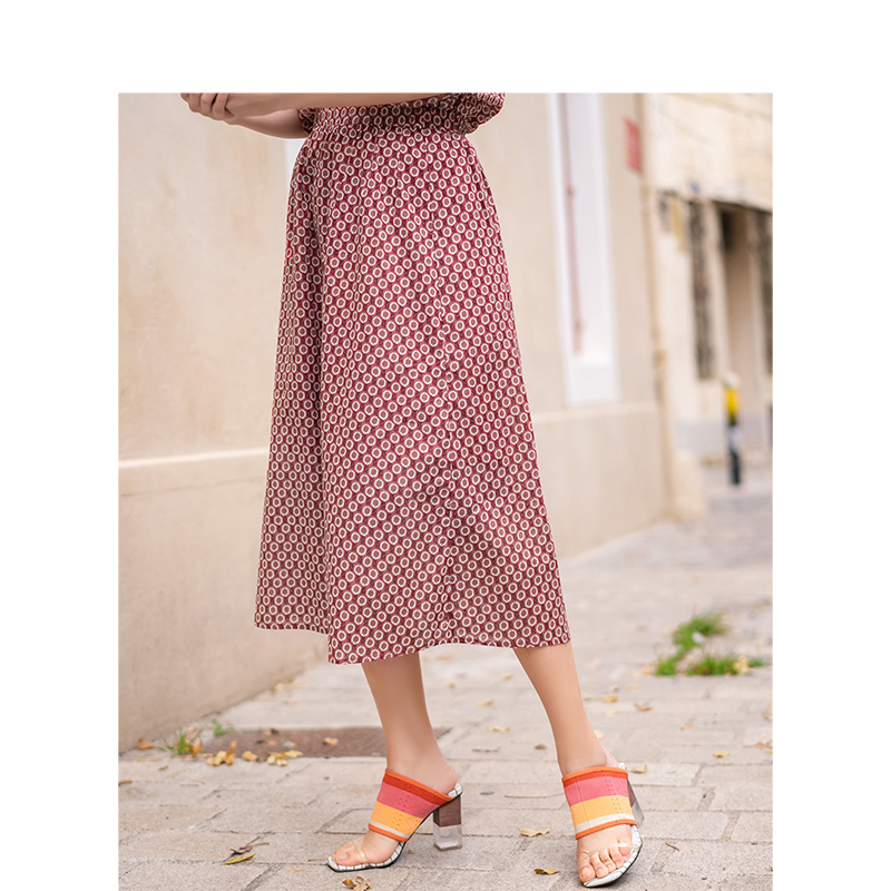 INMAN Summer High Waist Retro Floral Holiday Style Literary Casual Slim Women Skirt