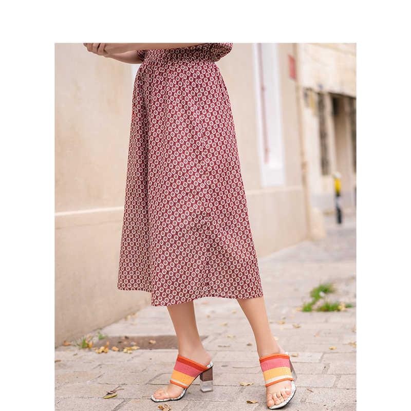 INMAN lato wysokiej talii Retro kwiatowy styl wakacyjny literacki dorywczo szczupła spódnica kobiet