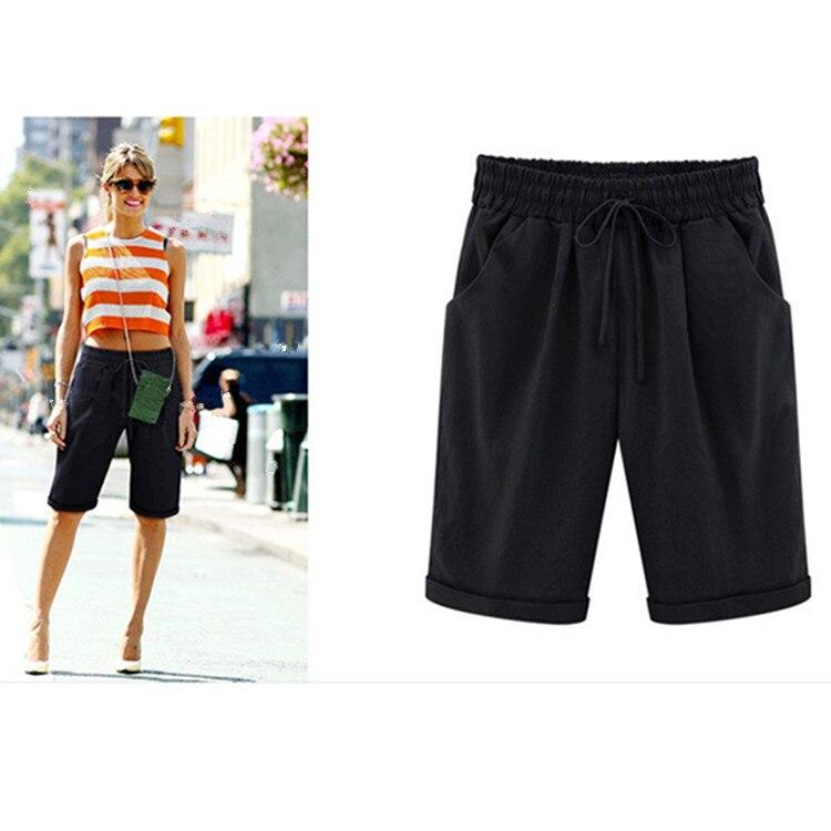 Summer Straight Knee Length Shorts Comfortable Pocket Summer Beach Trousers Women's Shorts Casual Elastic Waist Plus SizeShorts