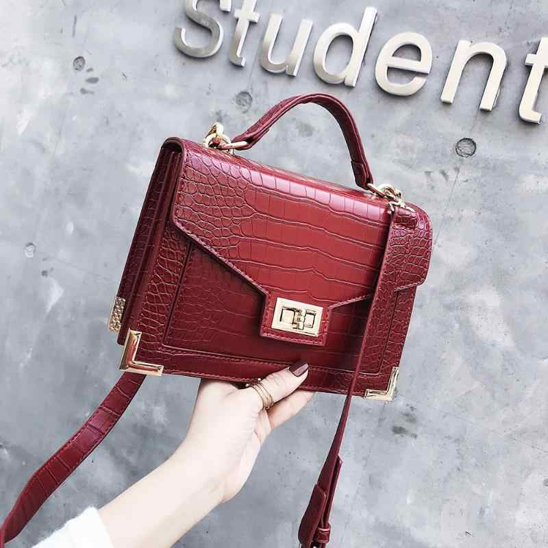 77d4d1120f Retro Fashion Female Square bag 2019 New PU Leather Women bag Crocodile pattern  Tote bag Lock