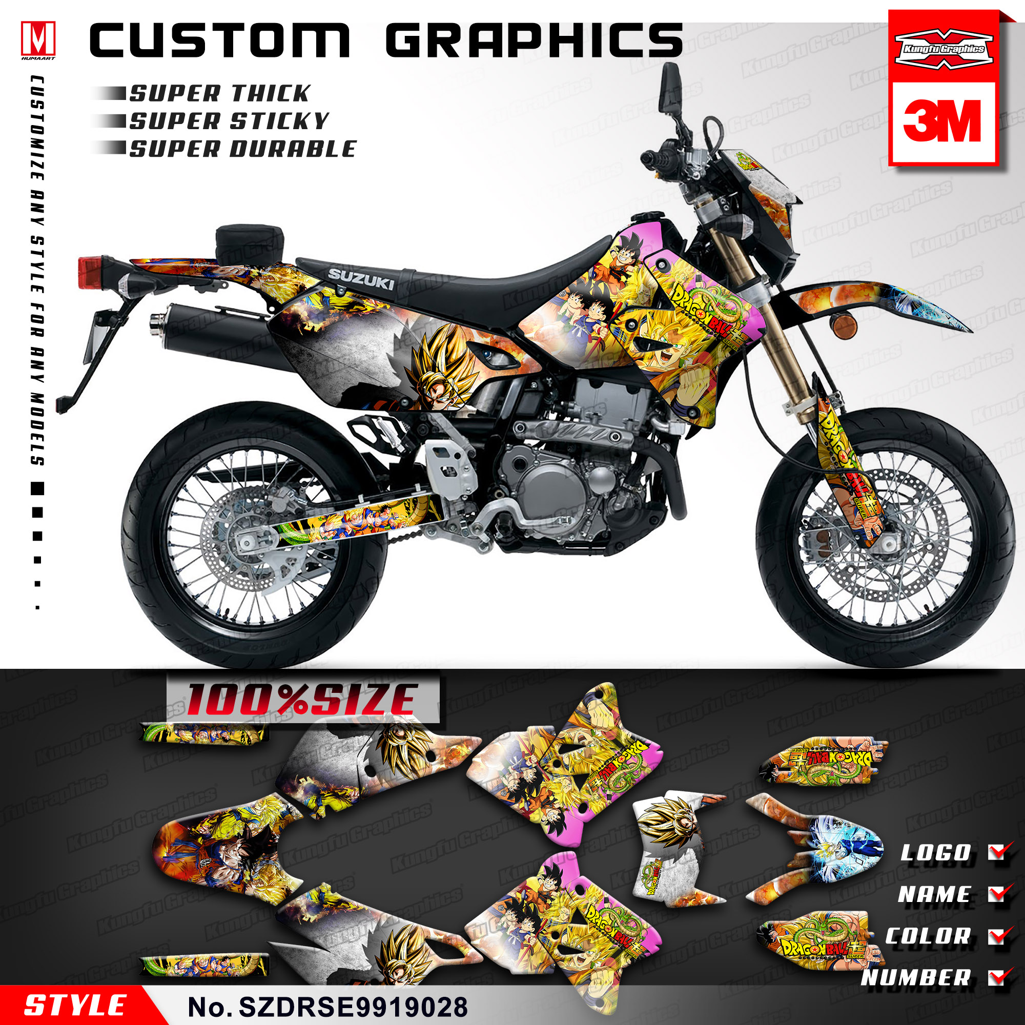 Kungfu graphics stickers design motorcycle decals kit for suzuki drz400sm drz 400 sm drz400e 1999 2019 style no szdrse9919028