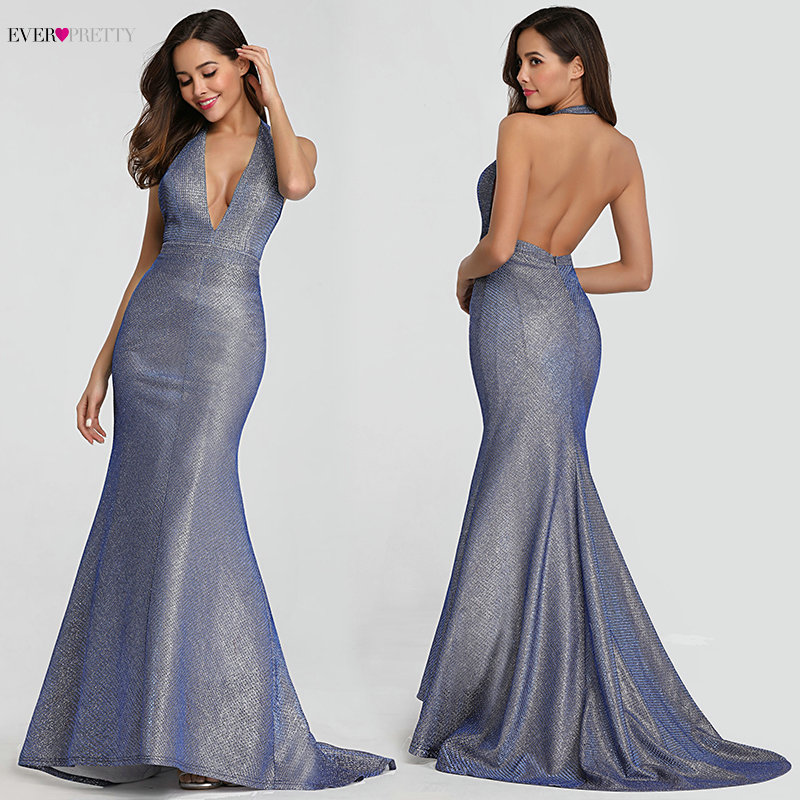 Sexy   Prom     Dresses   2019 Ever Pretty EP07846 Deep V-neck Sleeveless Backless Mermaid Party Gowns Vestidos Do Baile De Finalistas