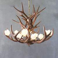 SETTEMBRE Brown Resin Lamp Antler Lustre Chandeliers E14 Vintage Novelty Lotus LED Antler Antelope Chandelier