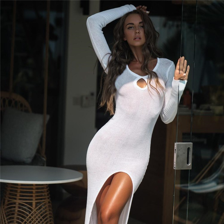 2019 New Crochet Knitted Beachwear Women Summer Dress Sexy See-through Beach Dress Long Dress Beautiful In Colour