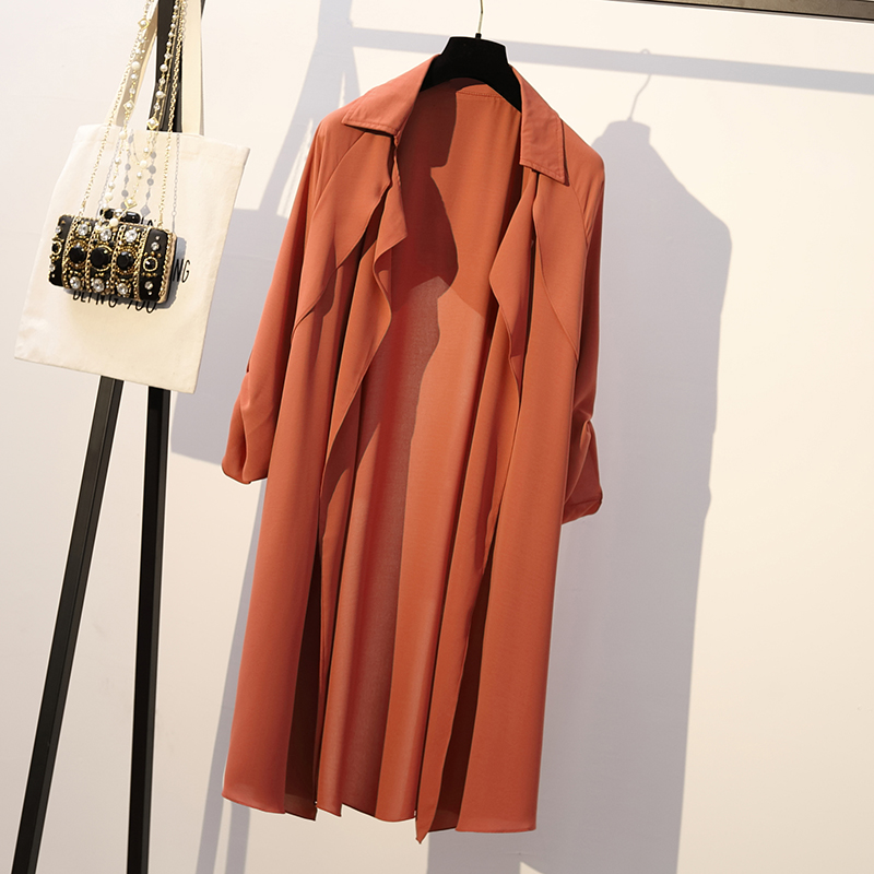 XL-4XL Plus Size   Trench   Coat for Women Clothes Spring 2019 Korean Solid Color Fashion Long Sleeve Loose Casual Long Coat