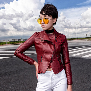Ladies Basic Jackets Good Quality Faux Leather Coat Fashion Bright Colors Zipper Jacket Womens Short paragraph PU Leather Jacket