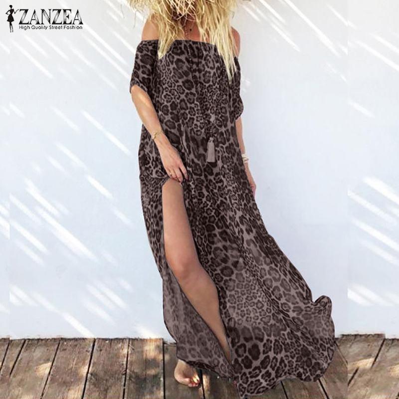 Летнее сексуальное леопардовое платье Макси женское сарафан 2019 ZANZEA с открытыми плечами длинное Vestido раздельный подол шифоновое платье плюс...