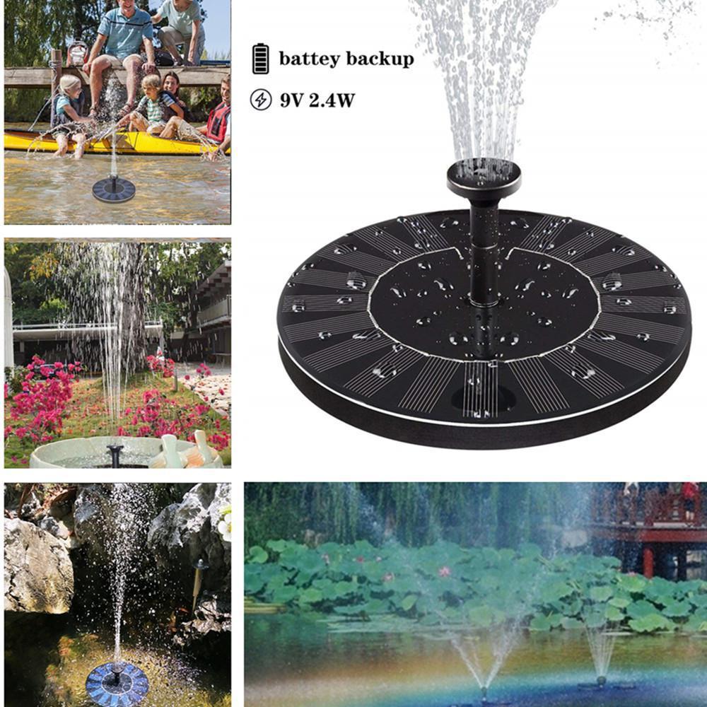 2.4W Mini Solar Fountain Solar Water Fountain Garden Pool Pond Outdoor Solar Panel Fountain Floating Fountain Garden Decoration|Fountains & Bird Baths| |  - title=