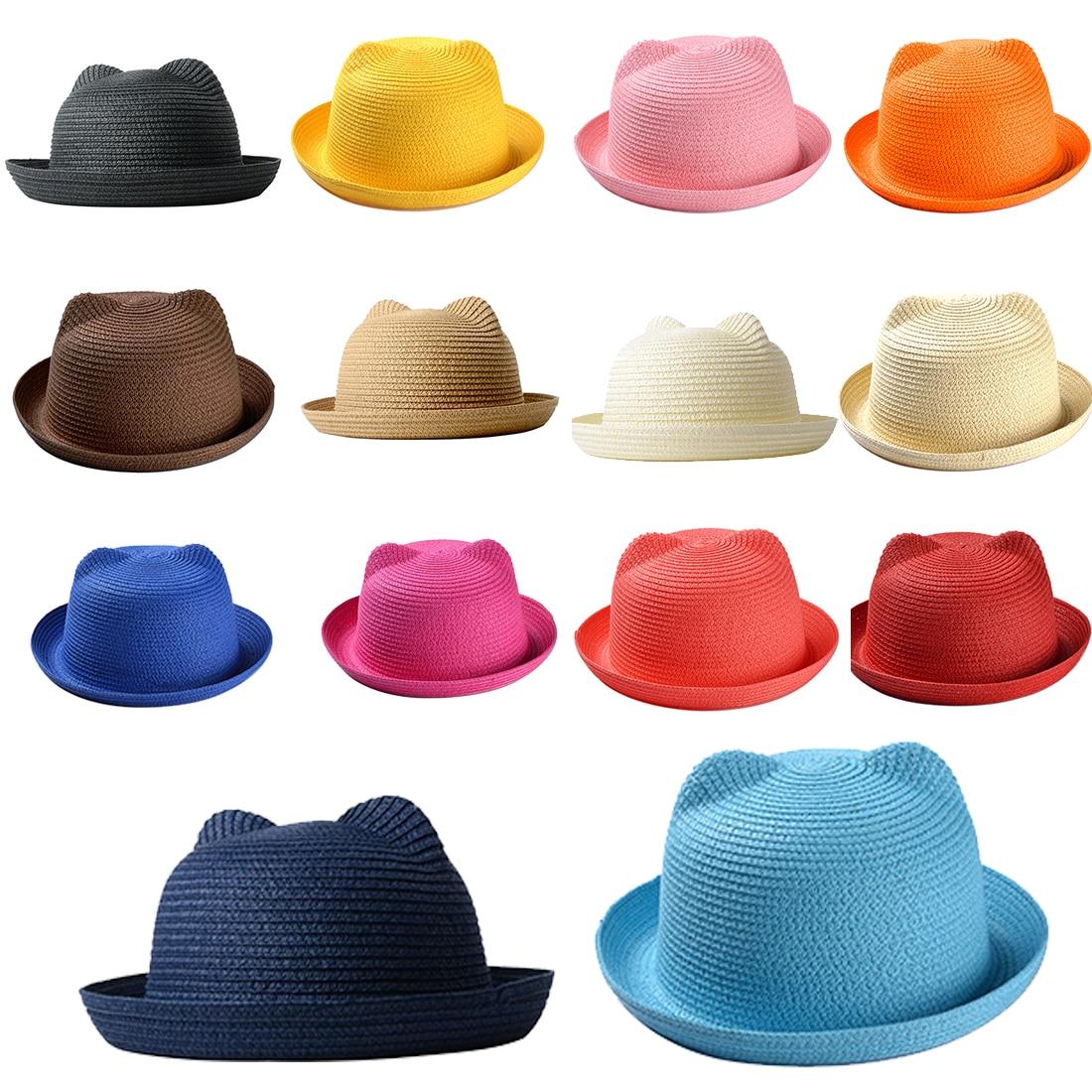 Panama children hats  Lovely Kids Children Solid Floppy Cat Ears Decor Cap Fashion Summer Baby Sun Hat for Girls Boys