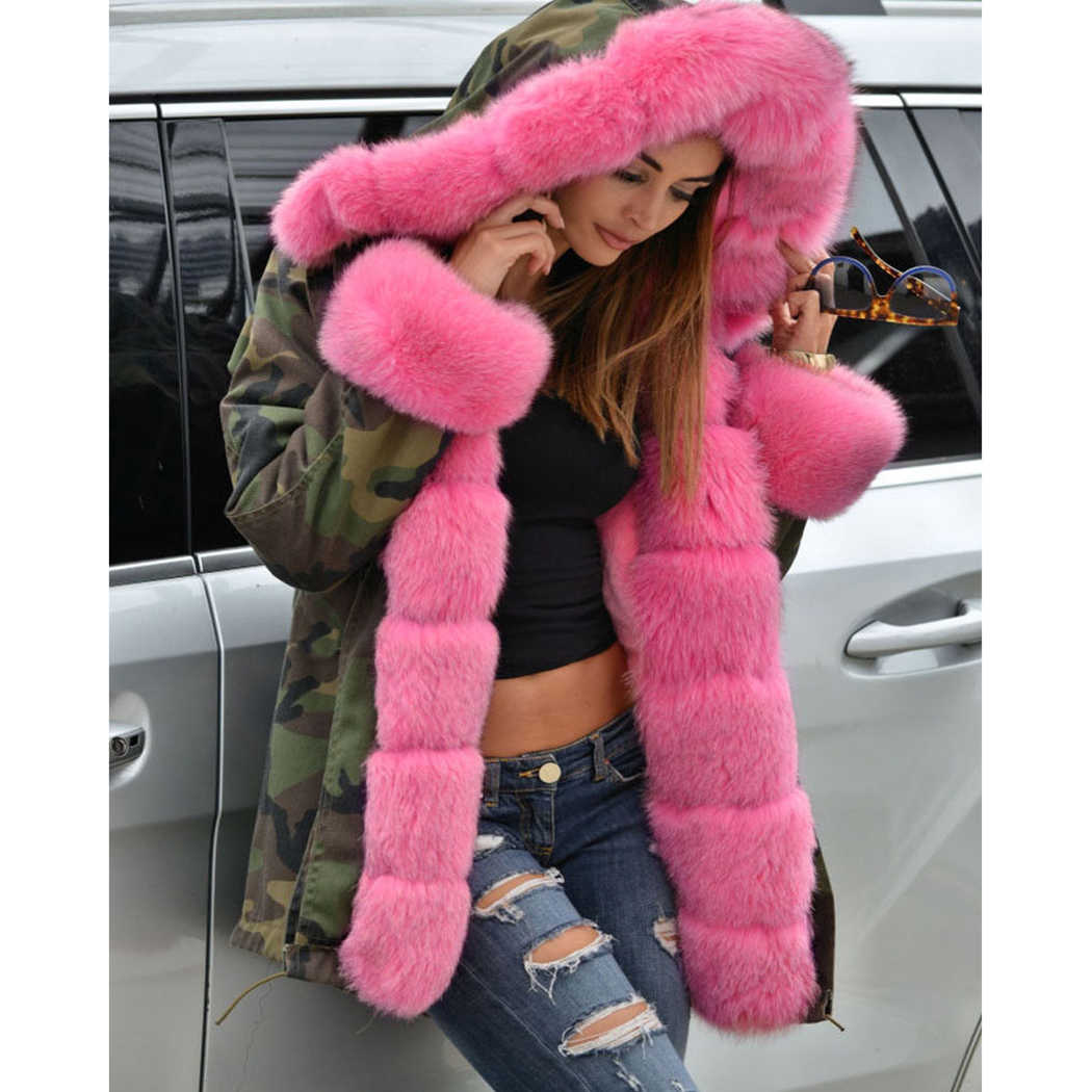 c6127329f4d 2018 Hot Plus Size S-5XL Women Fur Collar Winter Parkas new parkas Hooded  Long