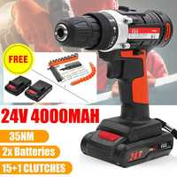 4000mAh 24V Home DIY Power Tool Electric Impact Wrench Cordless Brushless Drill Driver Set Speed 15 Torque With 2 Li ion Battery