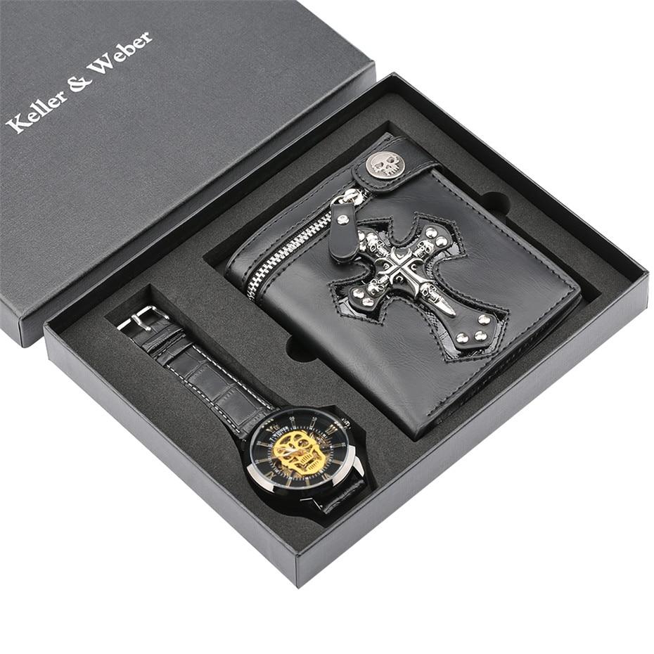 Luxury Watch Mens Mechanical Wristwatch Skeleton Skull Men s Watch Punk Leather Wallet Gift Set for