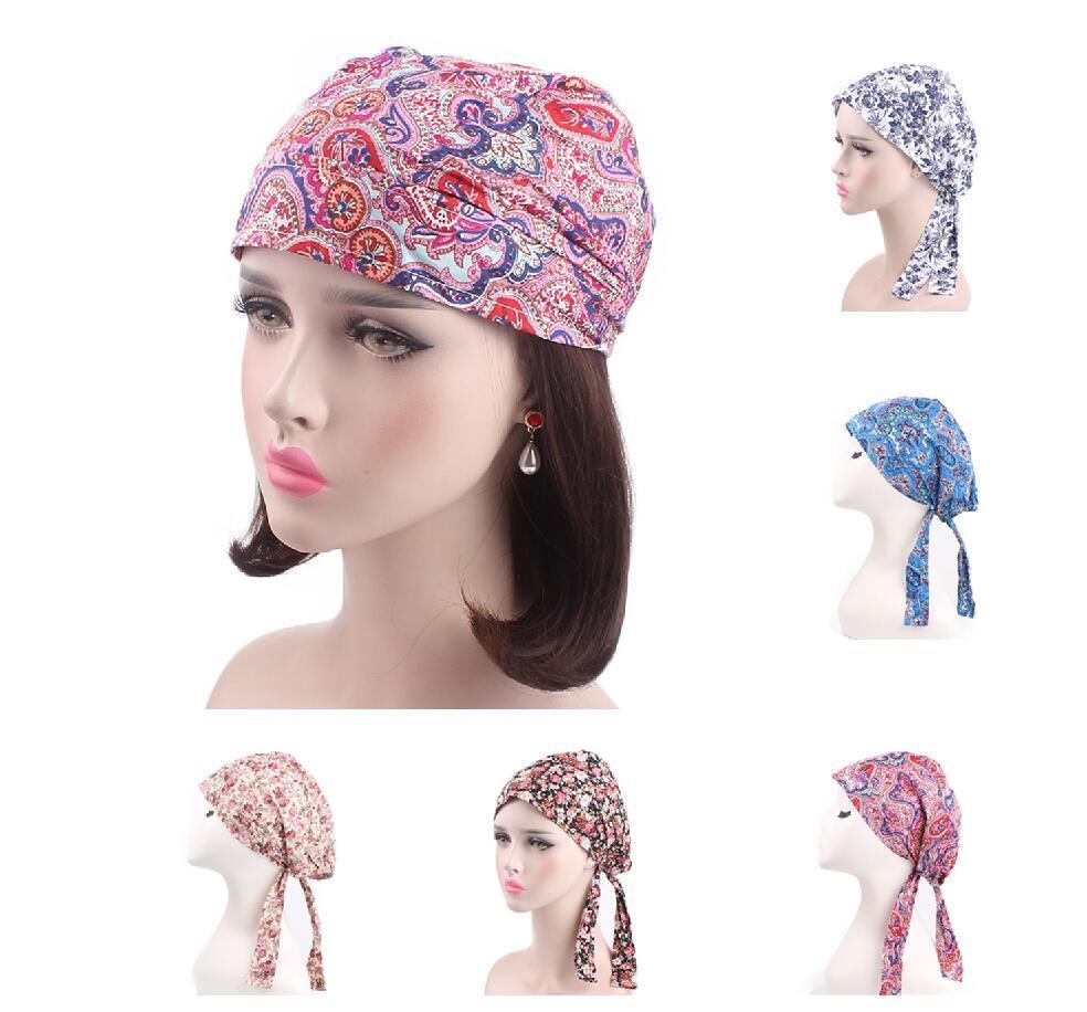 Arab Women Muslim Stretch Caps Cotton Flower Printed Turban Chemo Cap Hair Loss Hat Long Tail Wrap Cover Islamic Bonnet   Beanies
