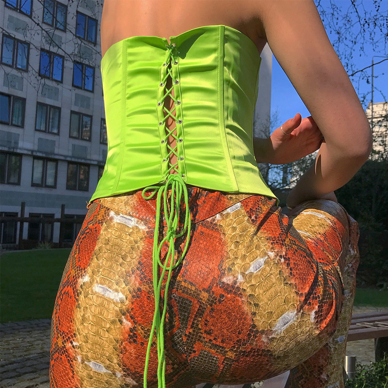 2019 Reflective Fluorescent Green Lace Up Tube Tops Women Streetwear Sexy Short Tops