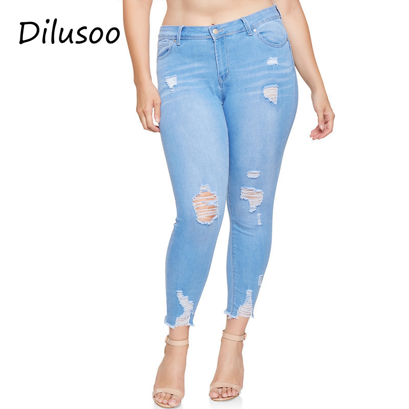 Dilusoo Women Plus Sise   Jeans   Pants High Waist Elastic Holes   Jeans   Cowboy Denim Pencil Pants Thin Woman Casual Spring Trousers