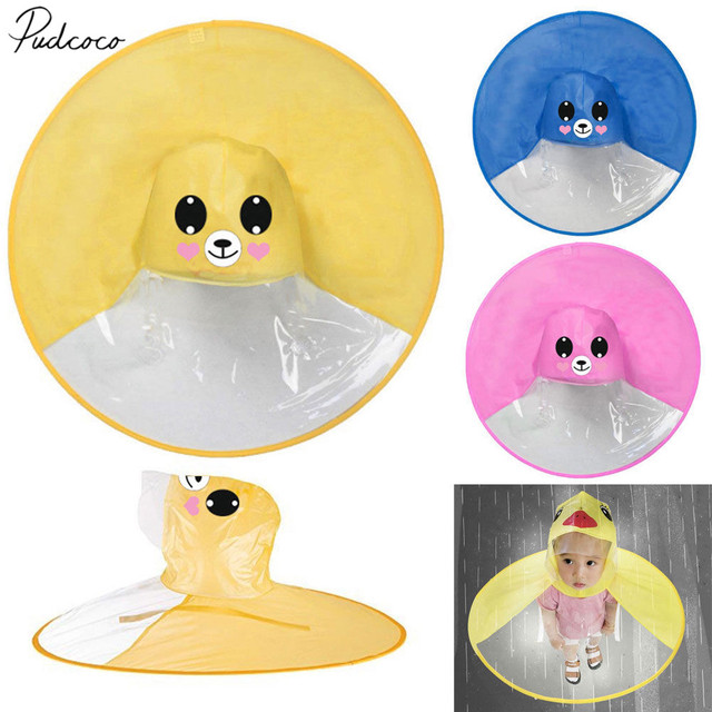 2019 Brand New Baby Kids PVC Raincoat Umbrella Cloak Cap Cartoon Rain Hats  UFO Children Umbrella Hat Magical Hands Free Hats 8ccd94334a85