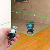 3D 12 линий зеленый лазерный луч 360 градусов вращающаяся стена мульти поперечная линия Авто самонивелирующийся лазерный измеритель уровня ин