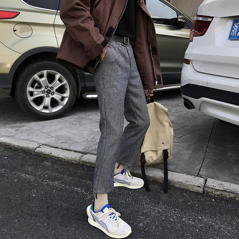 2019 Spring New Korean Version Of The School Wind Trousers Couple Loose Stitching Casual Fashion Travel Party