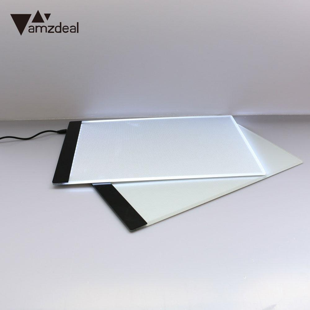 2018 New Amzdeal 1pcs LED Tracing Light Box Board A4 Drawing Pad USB Pervious Drawing Pads Tools Kits