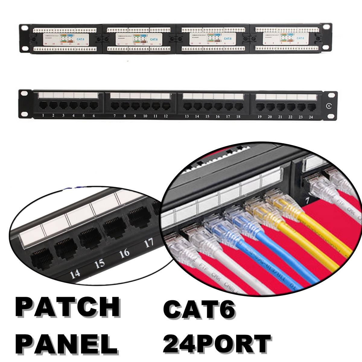 24-Port CAT6 1U UTP Patch Panel 19-Inch Network Lan Rackmount Wallmount TO