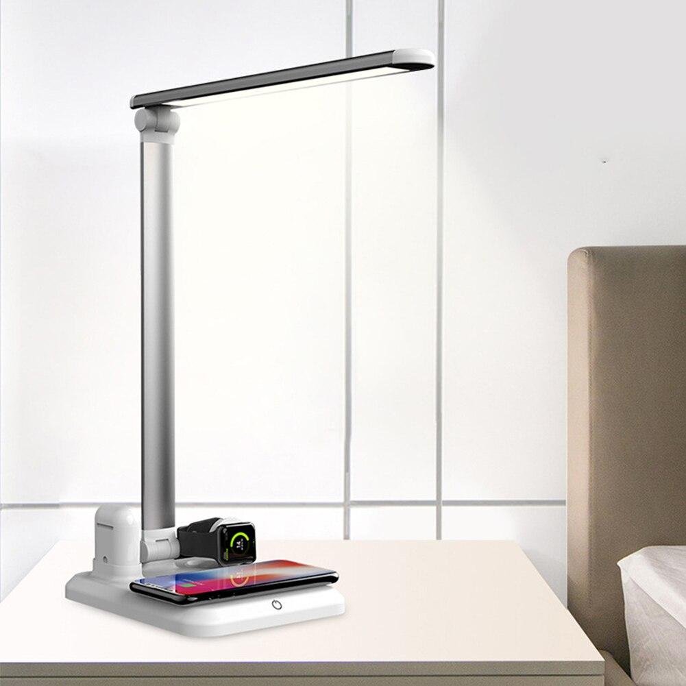 4 en 1 lumière LED QI chargeur sans fil pour Airpods iPhone XS XR X 8 Table lampe de bureau lumière chargement rapide Dock pour Apple Watch 3 4